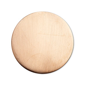 embellishment, copper, 32mm undrilled double-sided shiny flat round blank, 18 gauge. sold per pkg of 2.