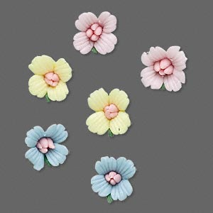 embellishment, porcelain, assorted colors, 10mm undrilled flower. sold per pkg of 3 pairs.