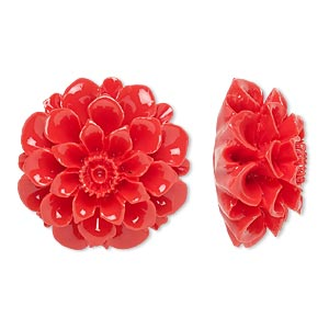 embellishment, resin, red, 28x28mm undrilled flower. sold individually.