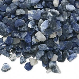 embellishment, sodalite (natural), mini to small undrilled chip, mohs hardness 5 to 6. sold per 50-gram pkg.