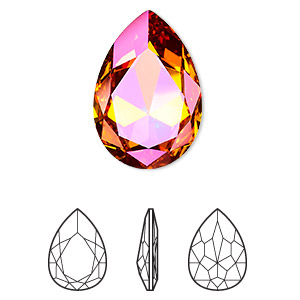 embellishment, swarovski crystal rhinestone, crystal astral pink, foil back, 30x20mm faceted pear fancy stone (4327). sold per pkg of 24.