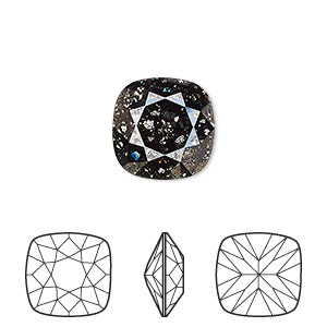 embellishment, swarovski crystal rhinestone, crystal black patina, foil back, 12x12mm faceted cushion fancy stone (4470). sold per pkg of 72.