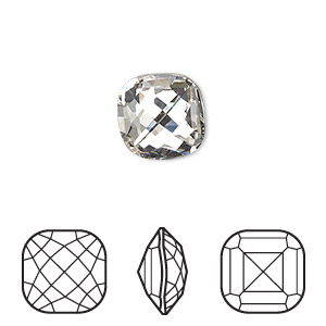embellishment, swarovski crystal rhinestone, crystal clear, foil back, 12x12mm faceted classical cushion fancy stone (4461). sold per pkg of 72.