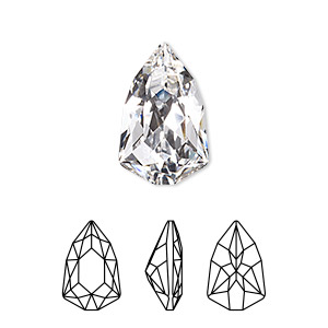 embellishment, swarovski crystal rhinestone, crystal clear, foil back, 18.7x11.8mm faceted trilliant fancy stone (4707). sold per pkg of 48.
