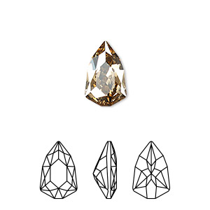 embellishment, swarovski crystal rhinestone, crystal golden shadow, foil back, 13.6x8.6mm faceted trilliant fancy stone (4707). sold per pkg of 72.