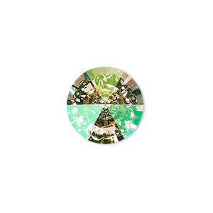embellishment, swarovski crystal rhinestone, crystal luminous green, foil back, 16mm faceted vision round (1681). sold per pkg of 48.