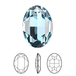 embellishment, swarovski crystal rhinestone, crystal passions, aquamarine, foil back, 30x22mm faceted oval fancy stone (4127). sold per pkg of 4.