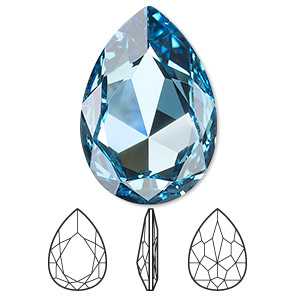 embellishment, swarovski crystal rhinestone, crystal passions, aquamarine, foil back, 30x20mm faceted pear fancy stone (4327). sold individually.