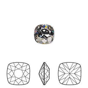 embellishment, swarovski crystal rhinestone, crystal passions, black diamond, foil back, 10x10mm faceted cushion fancy stone (4470). sold per pkg of 6.