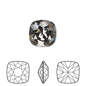embellishment, swarovski crystal rhinestone, crystal passions, black diamond, foil back, 12x12mm faceted cushion fancy stone (4470). sold individually.