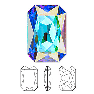 embellishment, swarovski crystal rhinestone, crystal passions, crystal ab, foil back, 27x18.5mm faceted emerald-cut fancy stone (4627). sold per pkg of 4.
