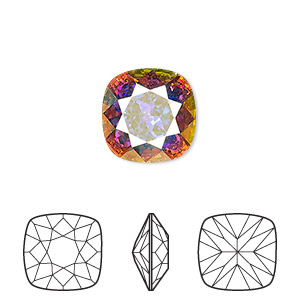 embellishment, swarovski crystal rhinestone, crystal passions, crystal ab, foil back, 12x12mm faceted cushion fancy stone (4470). sold individually.