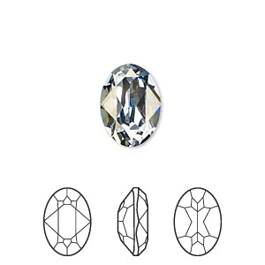 embellishment, swarovski crystal rhinestone, crystal passions, crystal blue shade, foil back, 14x10mm faceted oval fancy stone (4120). sold per pkg of 12.