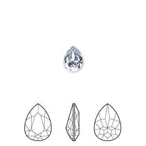 embellishment, swarovski crystal rhinestone, crystal passions, crystal blue shade, foil back, 8x6mm faceted pear fancy stone (4320). sold per pkg of 18.