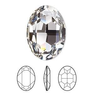 embellishment, swarovski crystal rhinestone, crystal passions, crystal clear, foil back, 30x22mm faceted oval fancy stone (4127). sold individually.