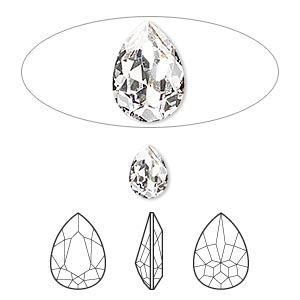 embellishment, swarovski crystal rhinestone, crystal passions, crystal clear, foil back, 8x6mm faceted pear fancy stone (4320). sold per pkg of 2.