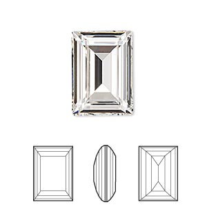 embellishment, swarovski crystal rhinestone, crystal passions, crystal clear, foil back, 18x13mm faceted step-cut rectangle fancy stone (4527). sold per pkg of 4.