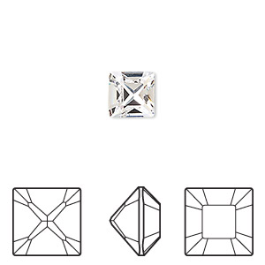 embellishment, swarovski crystal rhinestone, crystal passions, crystal clear, foil back, 8x8mm xilion square fancy stone (4428). sold per pkg of 2.
