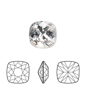 embellishment, swarovski crystal rhinestone, crystal passions, crystal clear, foil back, 12x12mm faceted cushion fancy stone (4470). sold per pkg of 6.