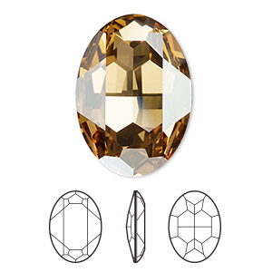 embellishment, swarovski crystal rhinestone, crystal passions, crystal golden shadow, foil back, 30x22mm faceted oval fancy stone (4127). sold per pkg of 4.