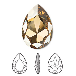 embellishment, swarovski crystal rhinestone, crystal passions, crystal golden shadow, foil back, 30x20mm faceted pear fancy stone (4327). sold individually.