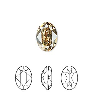 embellishment, swarovski crystal rhinestone, crystal passions, crystal golden shadow, foil back, 14x10mm faceted oval fancy stone (4120). sold per pkg of 12.