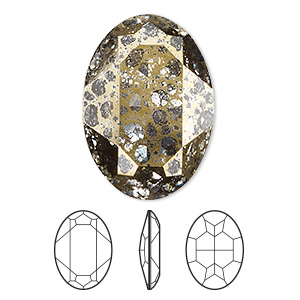 embellishment, swarovski crystal rhinestone, crystal passions, crystal gold patina, foil back, 30x22mm faceted oval fancy stone (4127). sold individually.