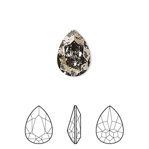 embellishment, swarovski crystal rhinestone, crystal passions, crystal gold patina, foil back, 14x10mm faceted pear fancy stone (4320). sold per pkg of 12.