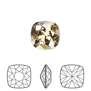 embellishment, swarovski crystal rhinestone, crystal passions, crystal golden shadow, foil back, 12x12mm faceted cushion fancy stone (4470). sold individually.