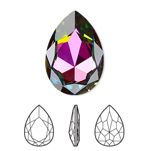 embellishment, swarovski crystal rhinestone, crystal passions, crystal vitrail medium, foil back, 30x20mm faceted pear fancy stone (4327). sold per pkg of 4.