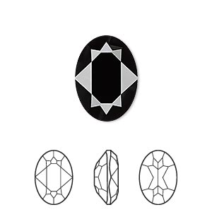 embellishment, swarovski crystal rhinestone, crystal passions, jet, 18x13mm faceted oval fancy stone (4120). sold per pkg of 6.