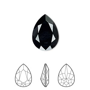 embellishment, swarovski crystal rhinestone, crystal passions, jet, 18x13mm faceted pear fancy stone (4320). sold individually.