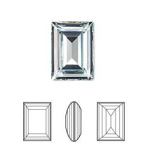 embellishment, swarovski crystal rhinestone, crystal passions, light azore, foil back, 18x13mm faceted step-cut rectangle fancy stone (4527). sold per pkg of 4.