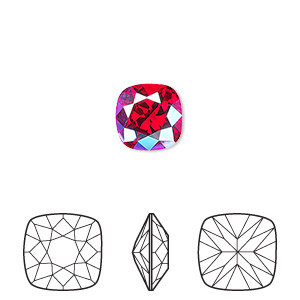 embellishment, swarovski crystal rhinestone, crystal passions, light siam shimmer, foil back, 10mm faceted cushion fancy stone (4470). sold per pkg of 6.