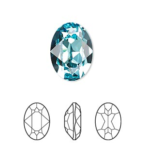 embellishment, swarovski crystal rhinestone, crystal passions, light turquoise, foil back, 18x13mm faceted oval fancy stone (4120). sold individually.