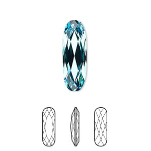embellishment, swarovski crystal rhinestone, crystal passions, light turquoise, foil back, 21x7mm faceted long classical oval fancy stone (4161). sold individually.