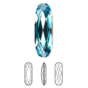 embellishment, swarovski crystal rhinestone, crystal passions, light turquoise, foil back, 27x9mm faceted long classical oval fancy stone (4161). sold per pkg of 6.