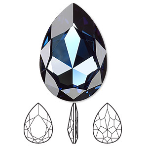 embellishment, swarovski crystal rhinestone, crystal passions, montana, foil back, 30x20mm faceted pear fancy stone (4327). sold per pkg of 4.