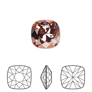 embellishment, swarovski crystal rhinestone, crystal passions, rose peach, foil back, 12x12mm faceted cushion fancy stone (4470). sold individually.