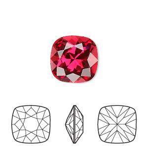 embellishment, swarovski crystal rhinestone, crystal passions, scarlet, foil back, 12mm faceted cushion fancy stone (4470). sold individually.