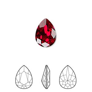 embellishment, swarovski crystal rhinestone, crystal passions, siam, foil back, 14x10mm faceted pear fancy stone (4320). sold individually.