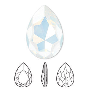 embellishment, swarovski crystal rhinestone, crystal passions, white opal, foil back, 30x20mm faceted pear fancy stone (4327). sold per pkg of 4.
