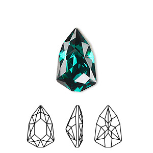 embellishment, swarovski crystal rhinestone, emerald, foil back, 18.7x11.8mm faceted trilliant fancy stone (4707). sold per pkg of 48.