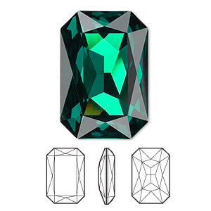 embellishment, swarovski crystal rhinestone, emerald, foil back, 27x18.5mm faceted emerald-cut fancy stone (4627). sold per pkg of 24.