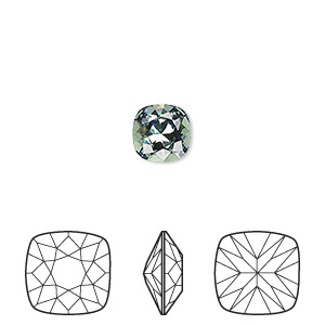 embellishment, swarovski crystal rhinestone, erinite, foil back, 8mm faceted cushion fancy stone (4470). sold per pkg of 72.