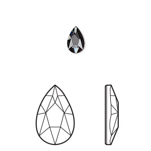 embellishment, swarovski crystal rhinestone, graphite, foil back, 8x5mm faceted pear flat back fancy stone (2303). sold per pkg of 144 (1 gross).