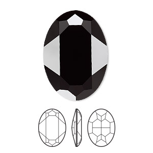 embellishment, swarovski crystal rhinestone, jet, 30x22mm faceted oval fancy stone (4127). sold per pkg of 24.