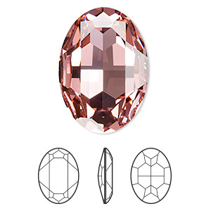 embellishment, swarovski crystal rhinestone, light rose, foil back, 30x22mm faceted oval fancy stone (4127). sold per pkg of 24.