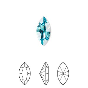 embellishment, swarovski crystal rhinestone, light turquoise, foil back, 15x7mm xilion navette fancy stone (4228). sold per pkg of 144 (1 gross).