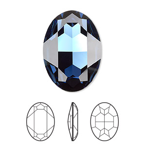 embellishment, swarovski crystal rhinestone, montana, foil back, 30x22mm faceted oval fancy stone (4127). sold per pkg of 24.